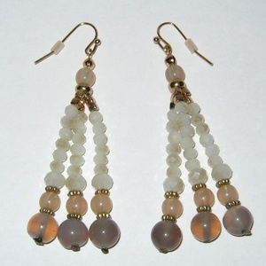 Jewelry - Crystal Stone Dangle Earrings Pink Gray NWOT #3200